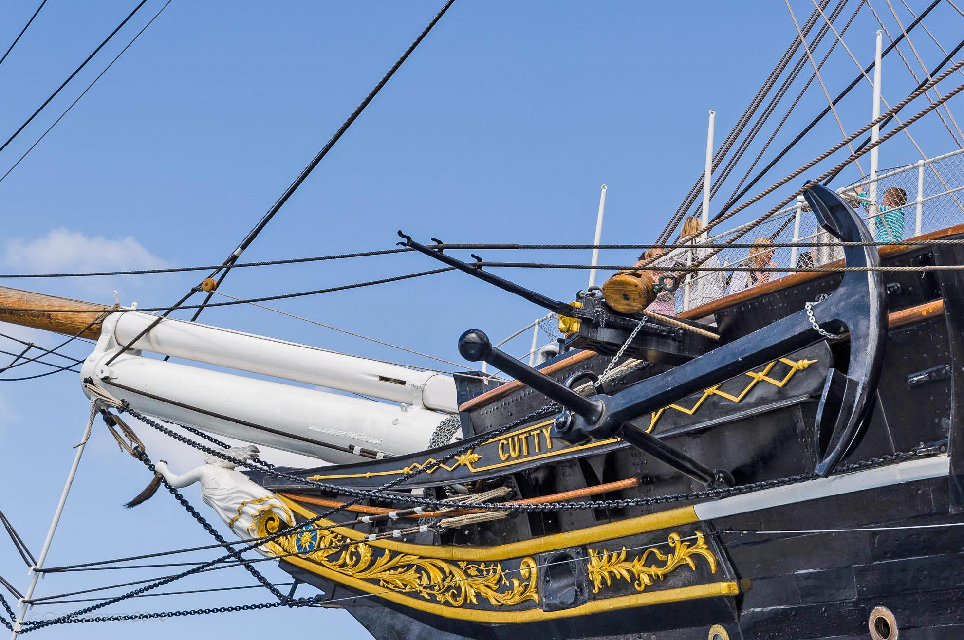 Cutty Sark, built 1869 Wooden Clipper Ship Anchor & Ship in London, England