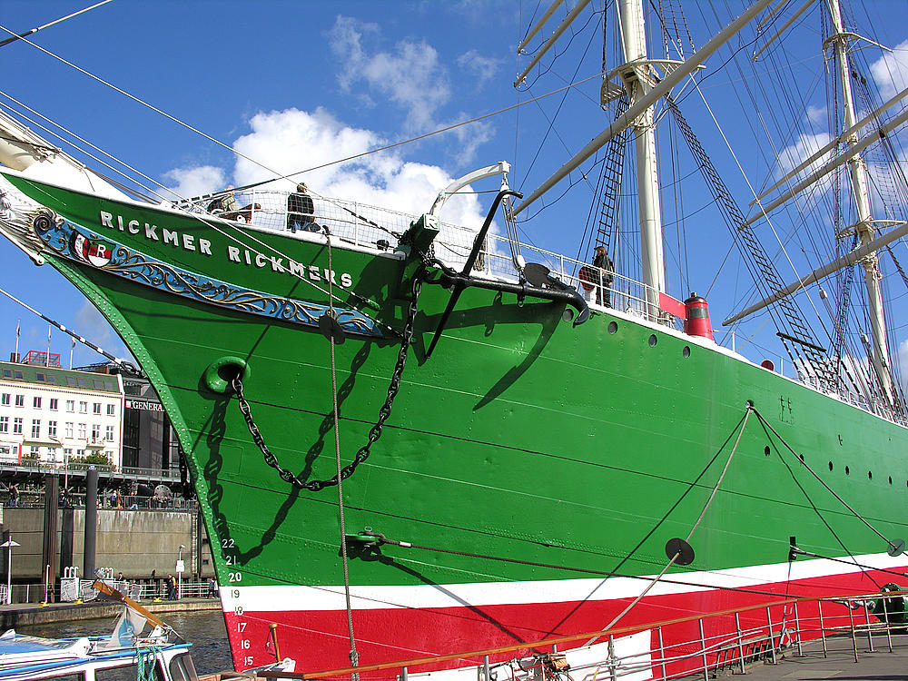 Rickmer Rickmers, built 1896 Iron hulled ship Anchor & Ship in Hamburg, Germany